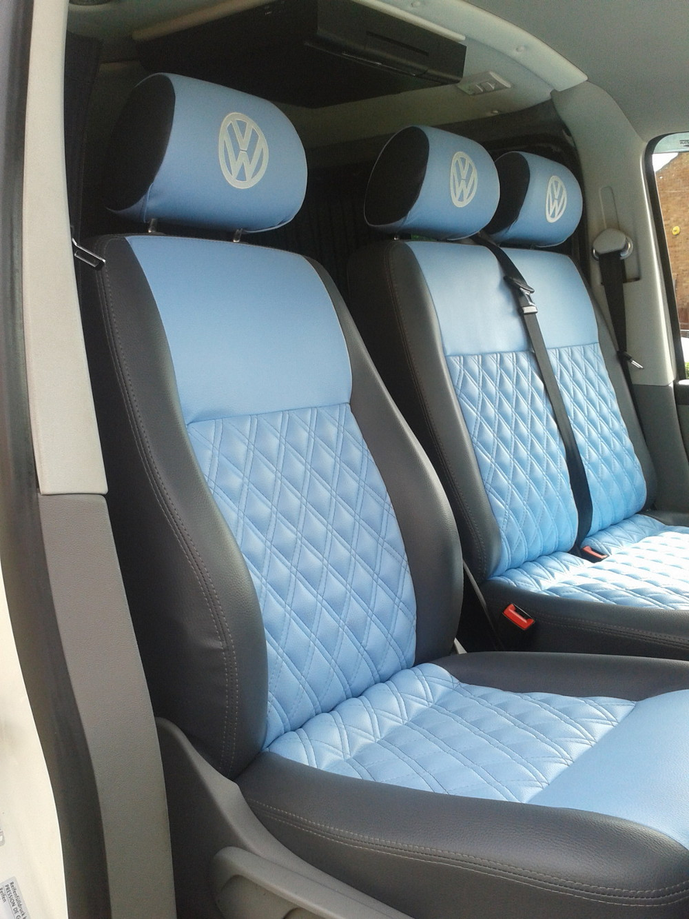 Volkswagen T5 Front Single Seat And Double Bench Re Upholstered In Grey With Blue Vinyl Bentley Diamond Stitched Centre Panels