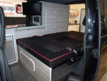 T5 Rear Bed Upholstered – Bentley Diamonds red piping