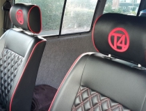 T4 Front and Rear Seats- Red and Black Leatherette