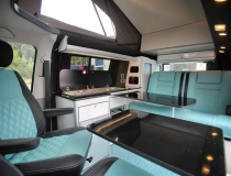 Evomotion Front Seats and Rib in Aqua Leather