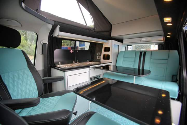 Evomotion Front Seats And Rib In Aqua Leather Vdub Trimshop