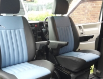 T4 Upholstered in Grey Leatherette with Light Blue Centre Panel