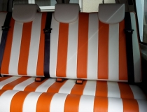 Re Upholstered Volkswagen T5 White & Orange Leather
